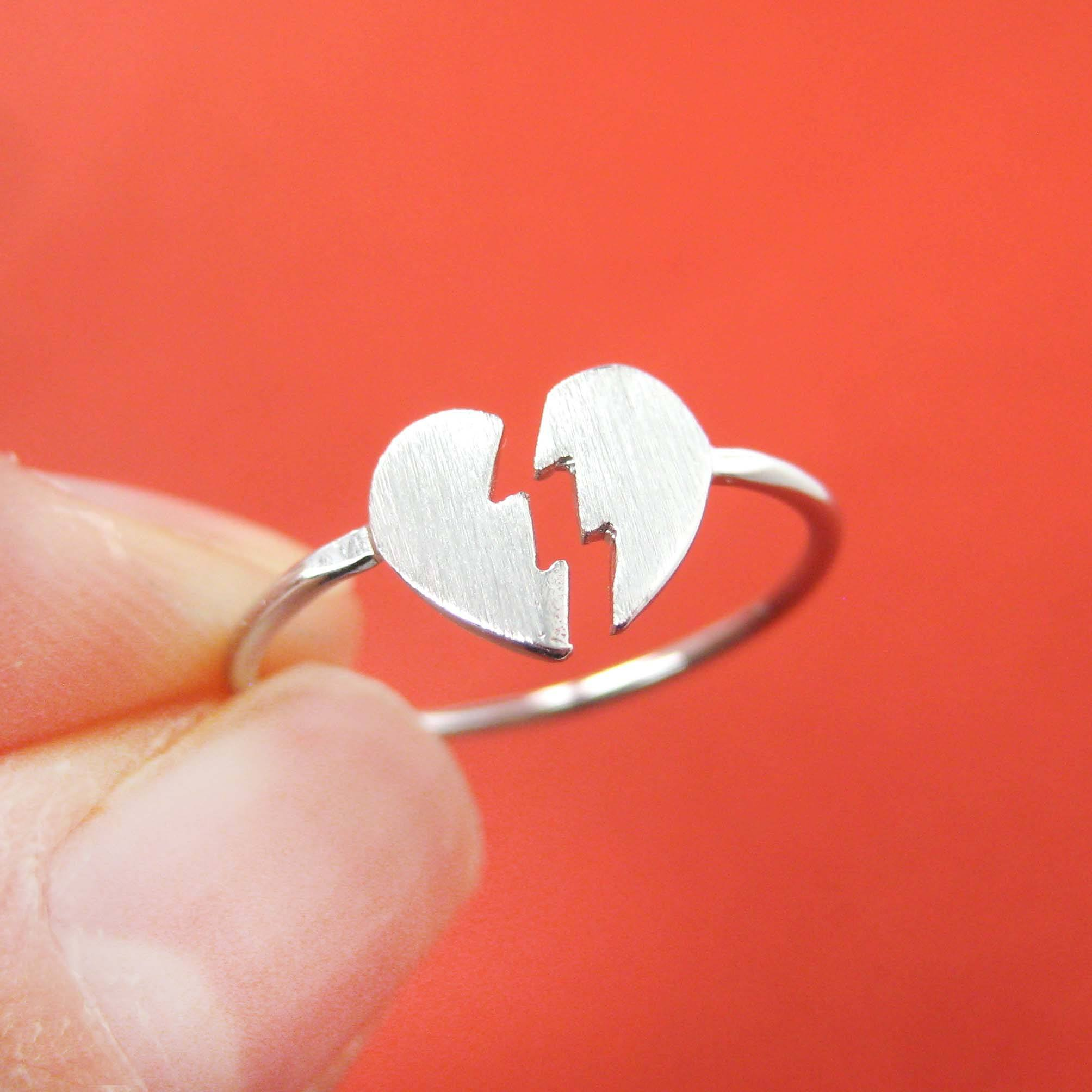 Un-break My Heart | Broken Heart Shaped Adjustable Ring in Silver