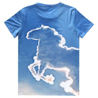 Unicorn Cloud Sky All Over Graphic Print T-Shirt