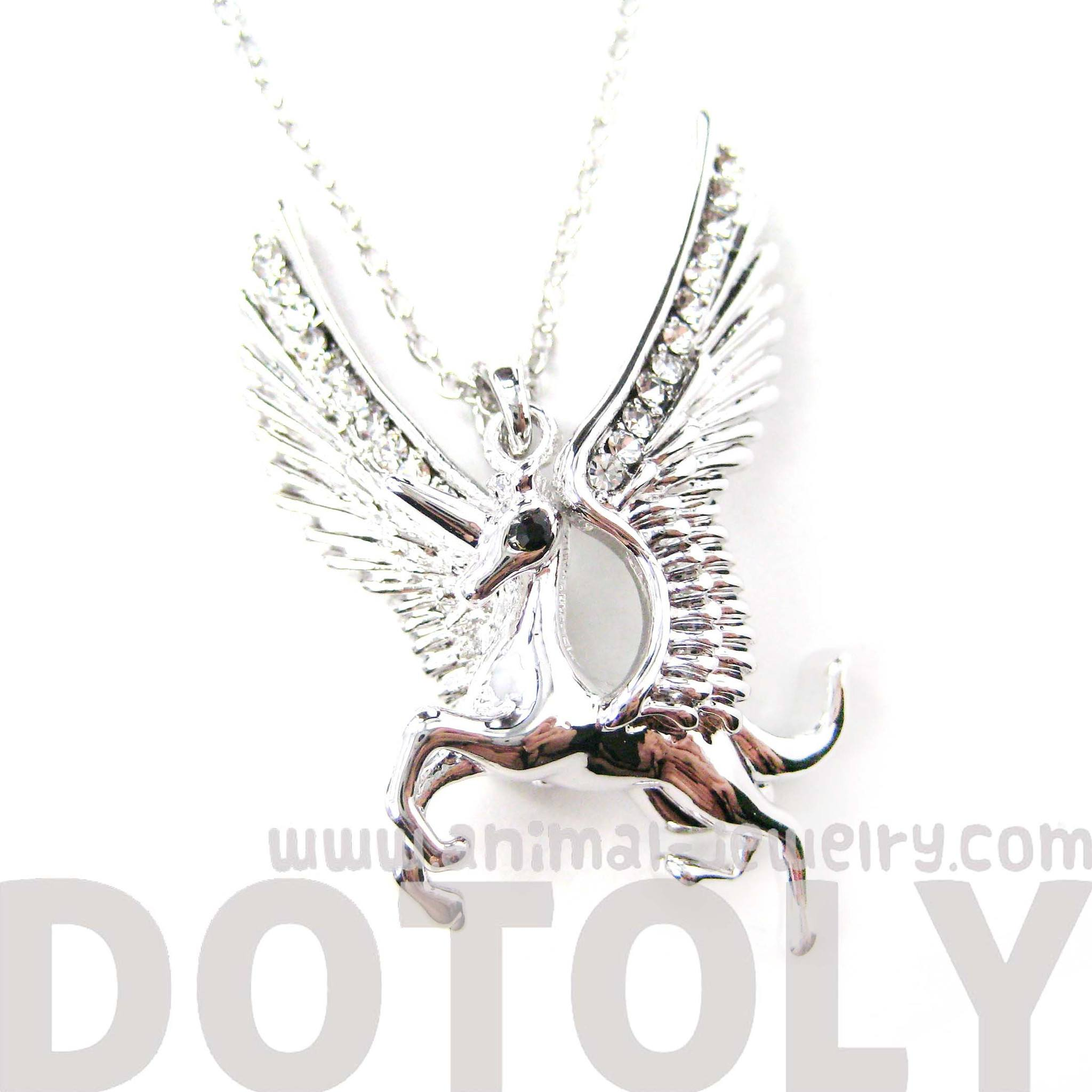 unicorn-horse-animal-pendant-necklace-in-silver-with-large-wings-animal-jewelry