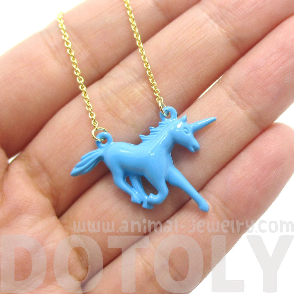 Unicorn Horse Animal Shaped Pendant Necklace in Blue
