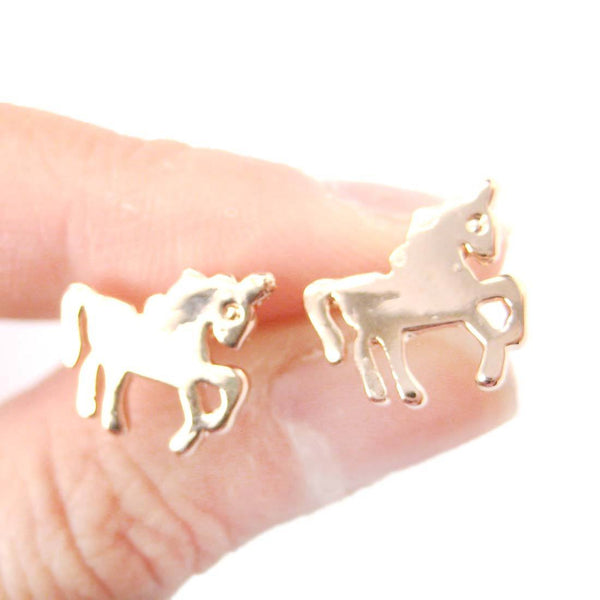 Unicorn Horse Shaped Silhouette Animal Themed Stud Earrings Rose Gold