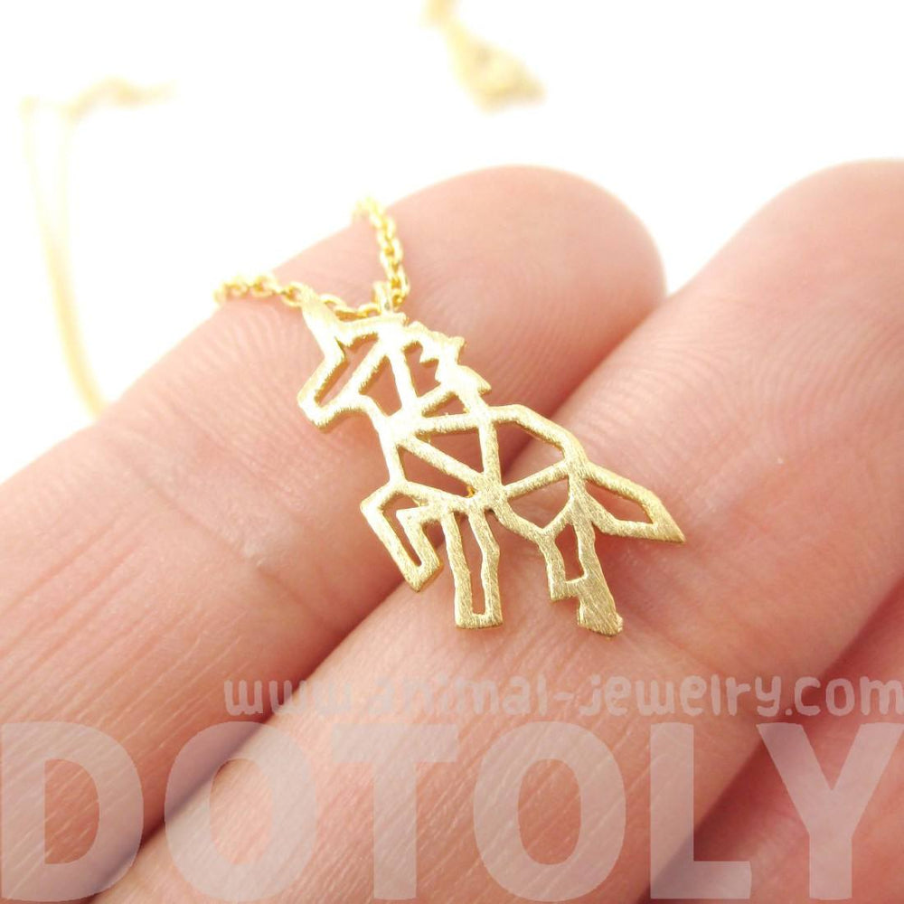 Unicorn Outline Cut Out Shaped Charm Necklace in Gold | Animal Jewelry | DOTOLY