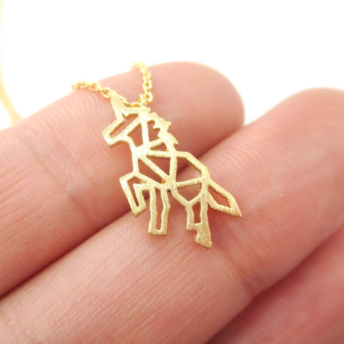 Unicorn Outline Cut Out Shaped Charm Necklace in Gold