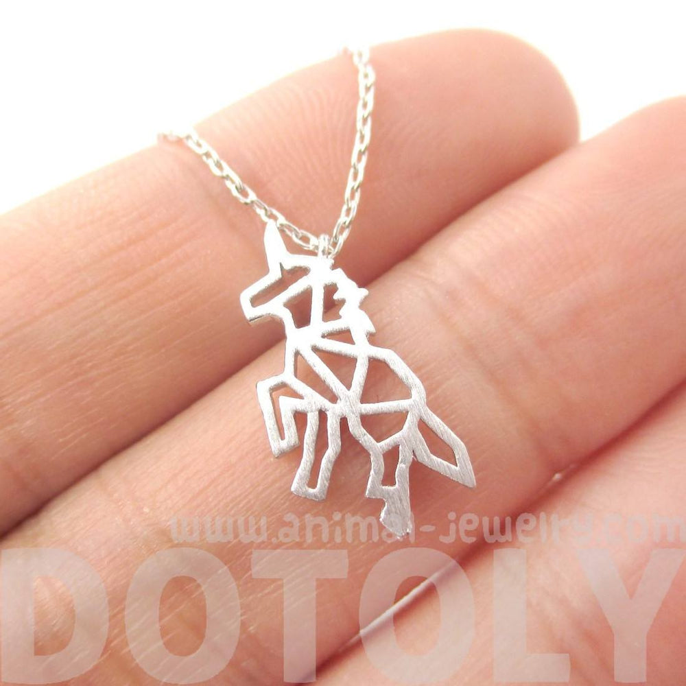 Unicorn Outline Cut Out Shaped Charm Necklace in Silver