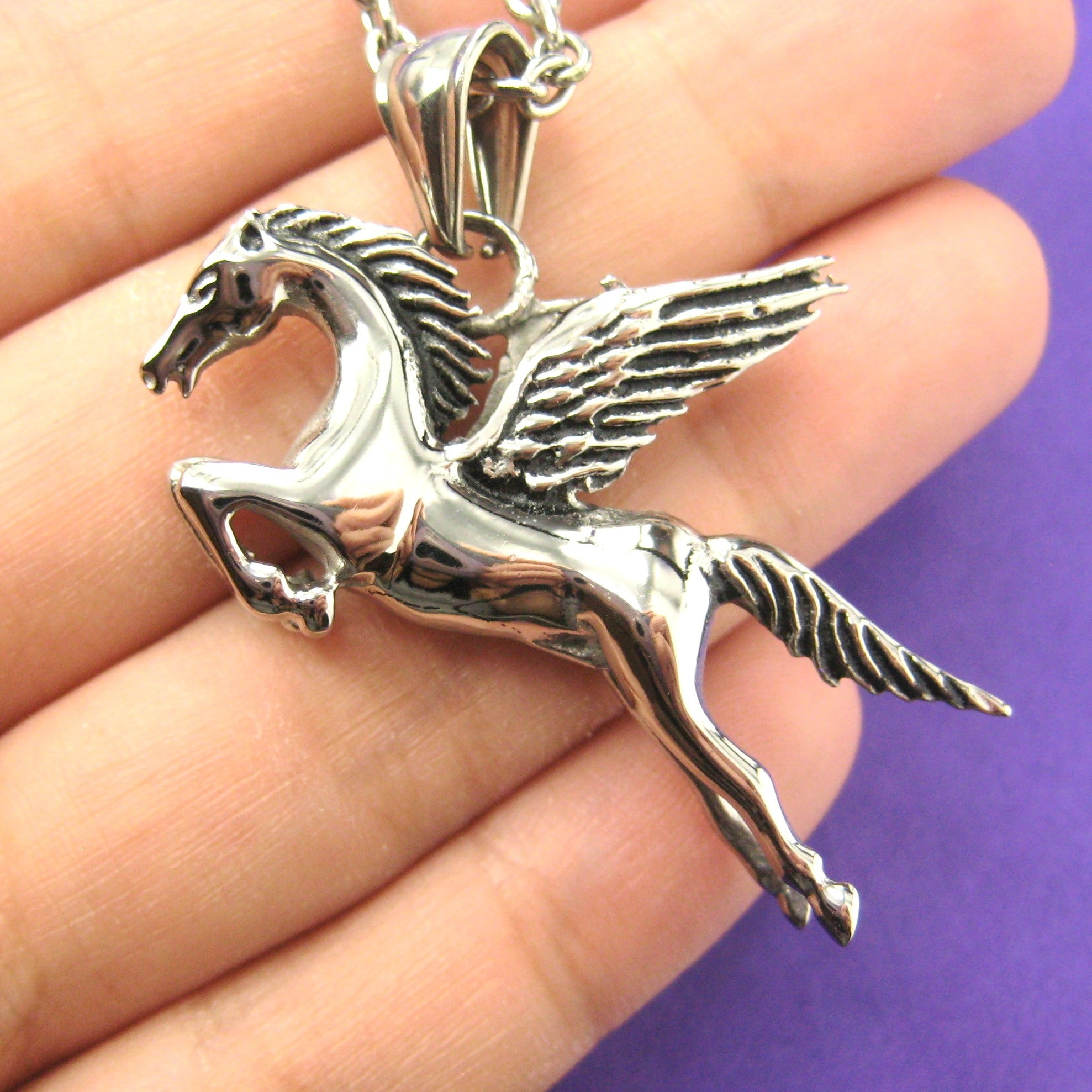 Unicorn Pegasus Horse Animal Pendant Necklace in Silver | DOTOLY