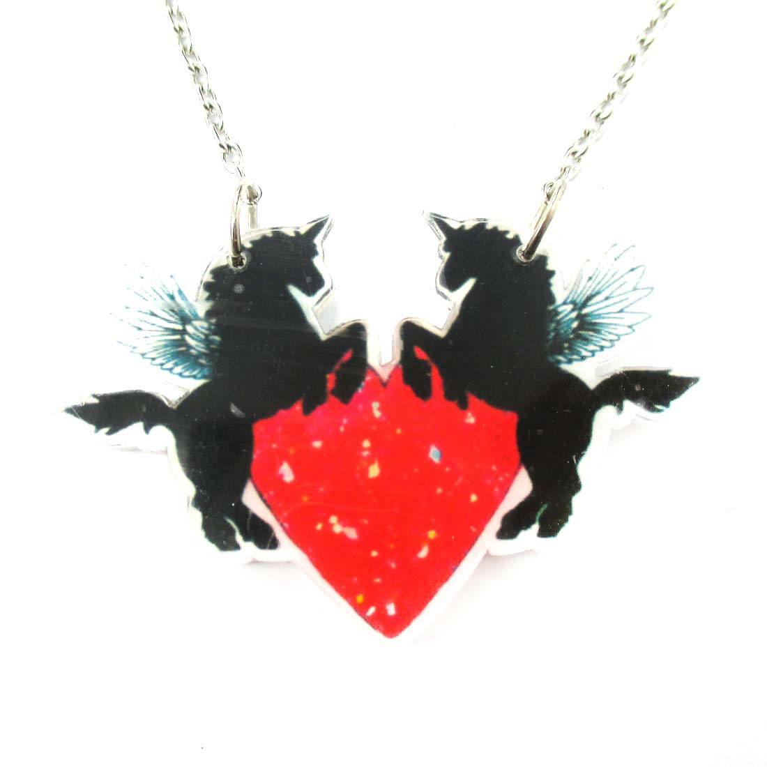 Unicorn Pegasus Surrounding A Heart Shaped Acrylic Pendant Necklace
