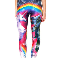 Unicorn Robot Dinosaur and Rainbow Digital Print Comfortable Stretch Leggings for Women | DOTOLY