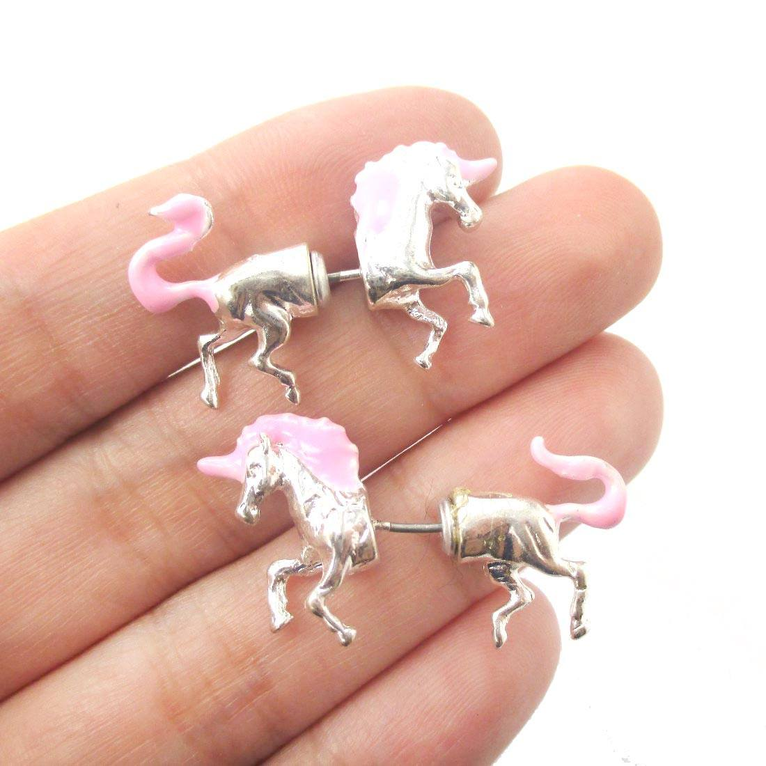 Unicorn Shaped Front and Back Two Part Earrings in Silver and Pink