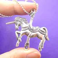 Unicorn Shaped Merry Go Round Carousel Pendant Necklace in Silver
