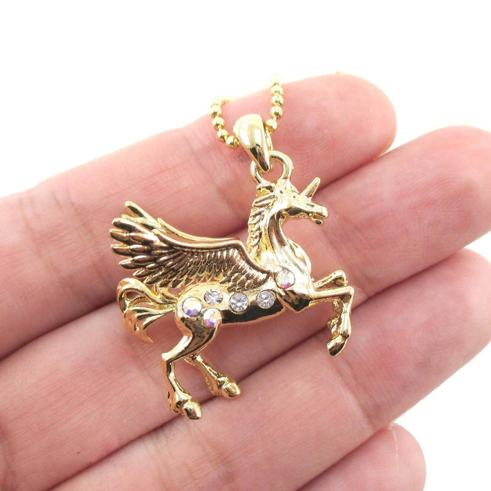 Unicorn Pegasus Wings Shaped Pendant Necklace in Gold