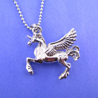 Unicorn Pegasus Wings Shaped Pendant Necklace in Silver