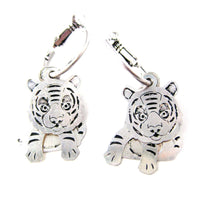 Unique 3D Baby Tiger Shaped Dangle Earrings in Silver | Animal Jewelry