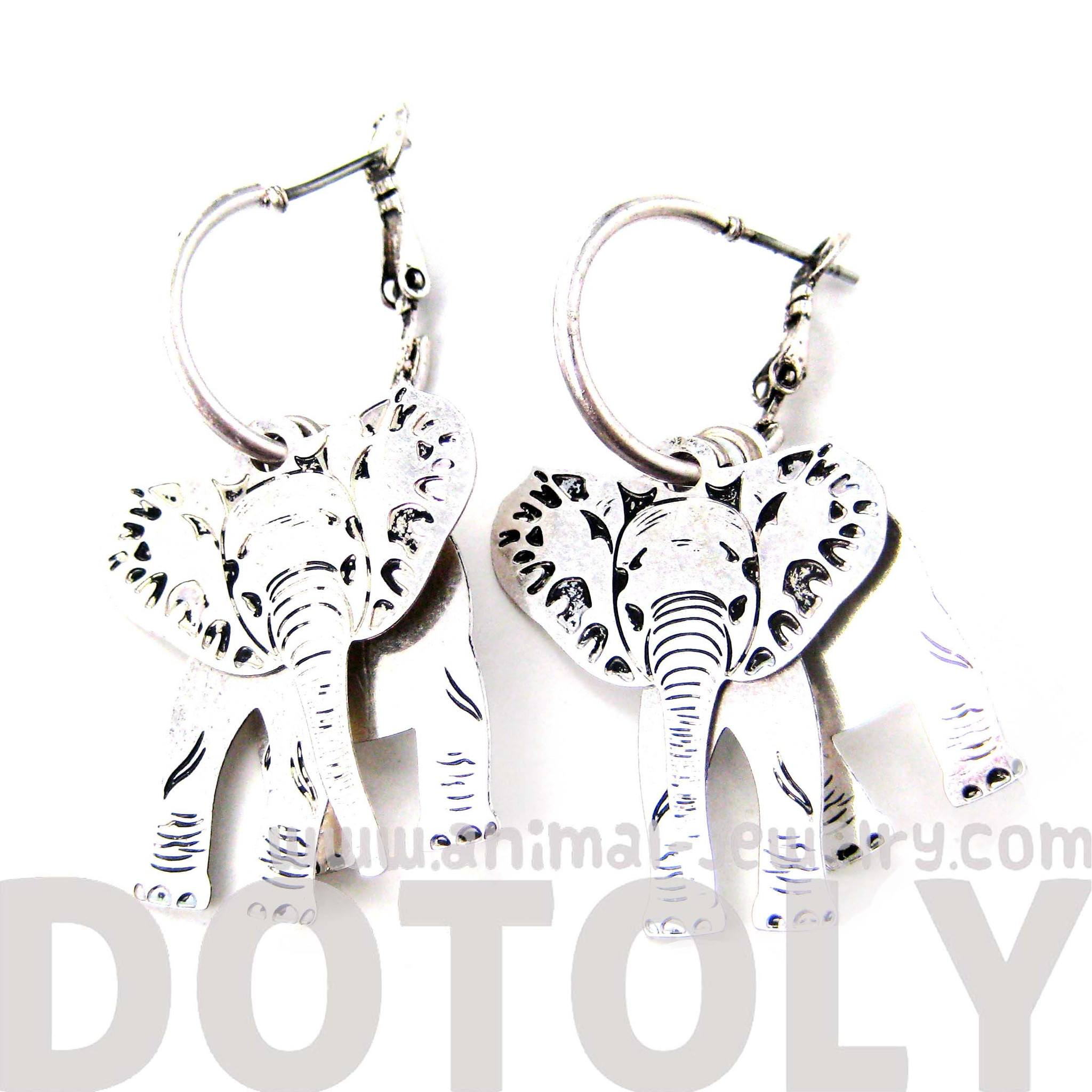 unique-3d-elephant-shaped-dangle-earrings-in-silver-animal-jewelry