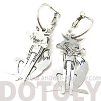 3D Fox Wolf Shaped Dangle Hoop Earrings in Silver | Animal Jewelry