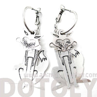 Unique 3D Fox Wolf Shaped Dangle Hoop Earrings in Silver | Animal Jewelry | DOTOLY