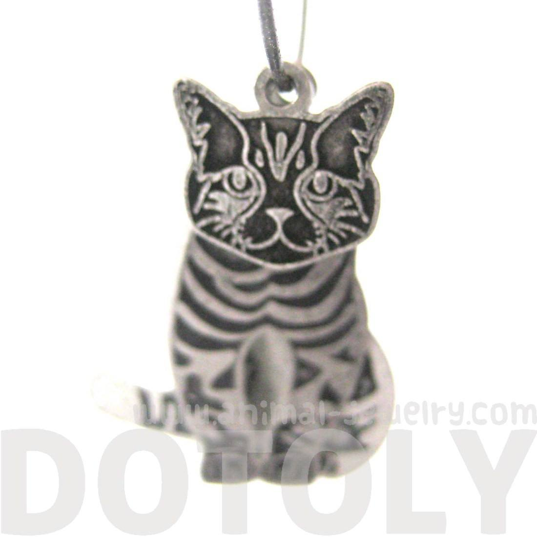 Unique 3D Tabby Kitty Cat Shaped Three Part Dangle Earrings in Silver