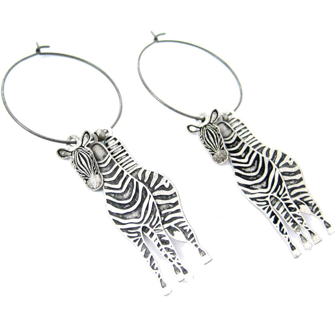 Unique 3D Zebra Horse Shaped Three Part Dangle Earrings in Silver