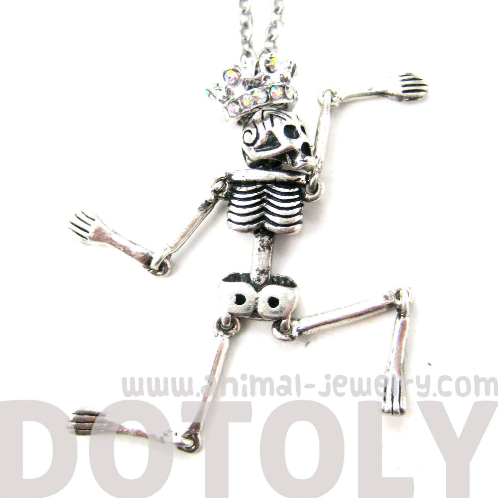 Detailed Skeleton Shaped Moveable Pendant Necklace With Crown Details