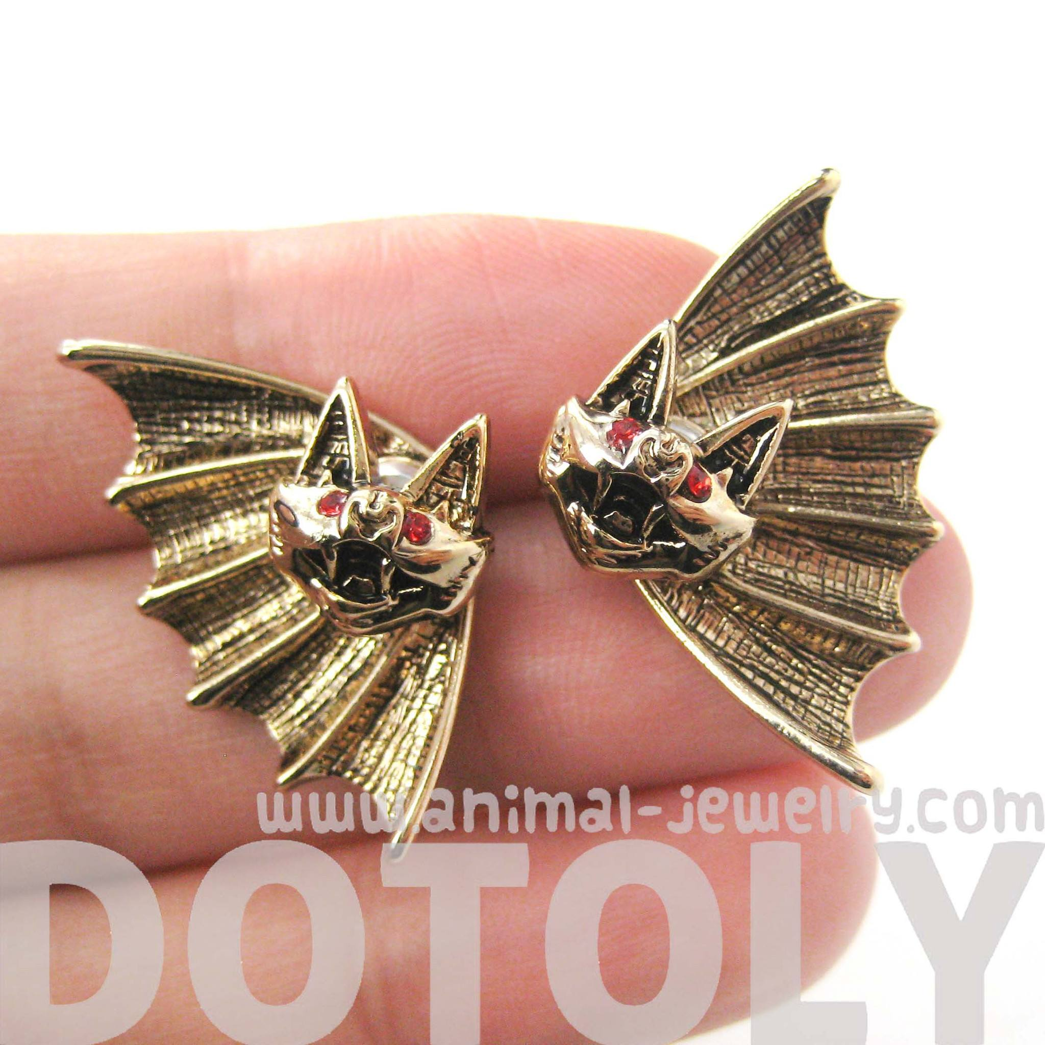 unique-bat-shaped-two-part-animal-stud-earrings-in-gold-dotoly