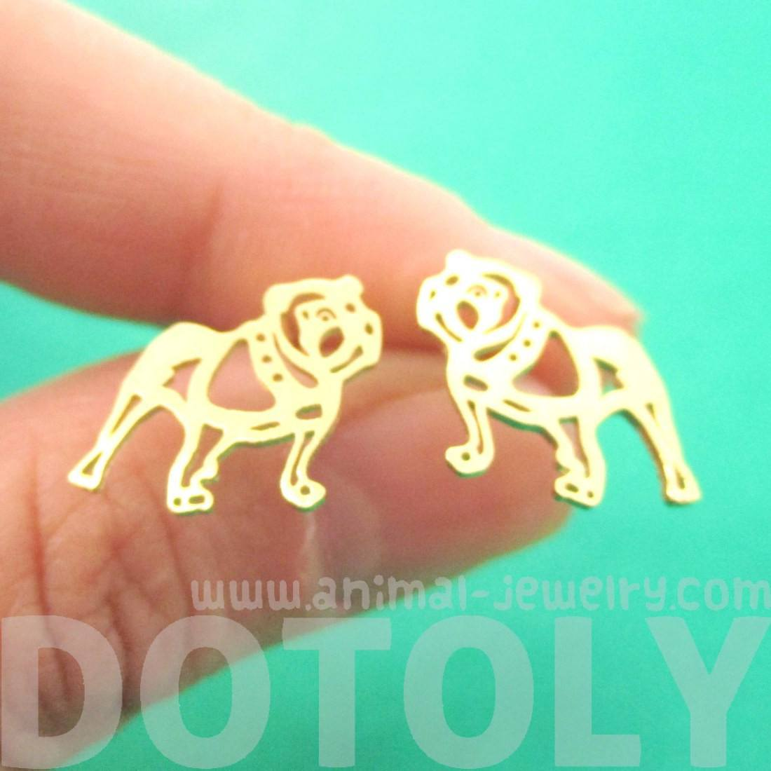 Unique Bulldog Dog Shaped Cut Out Stud Earrings in Gold