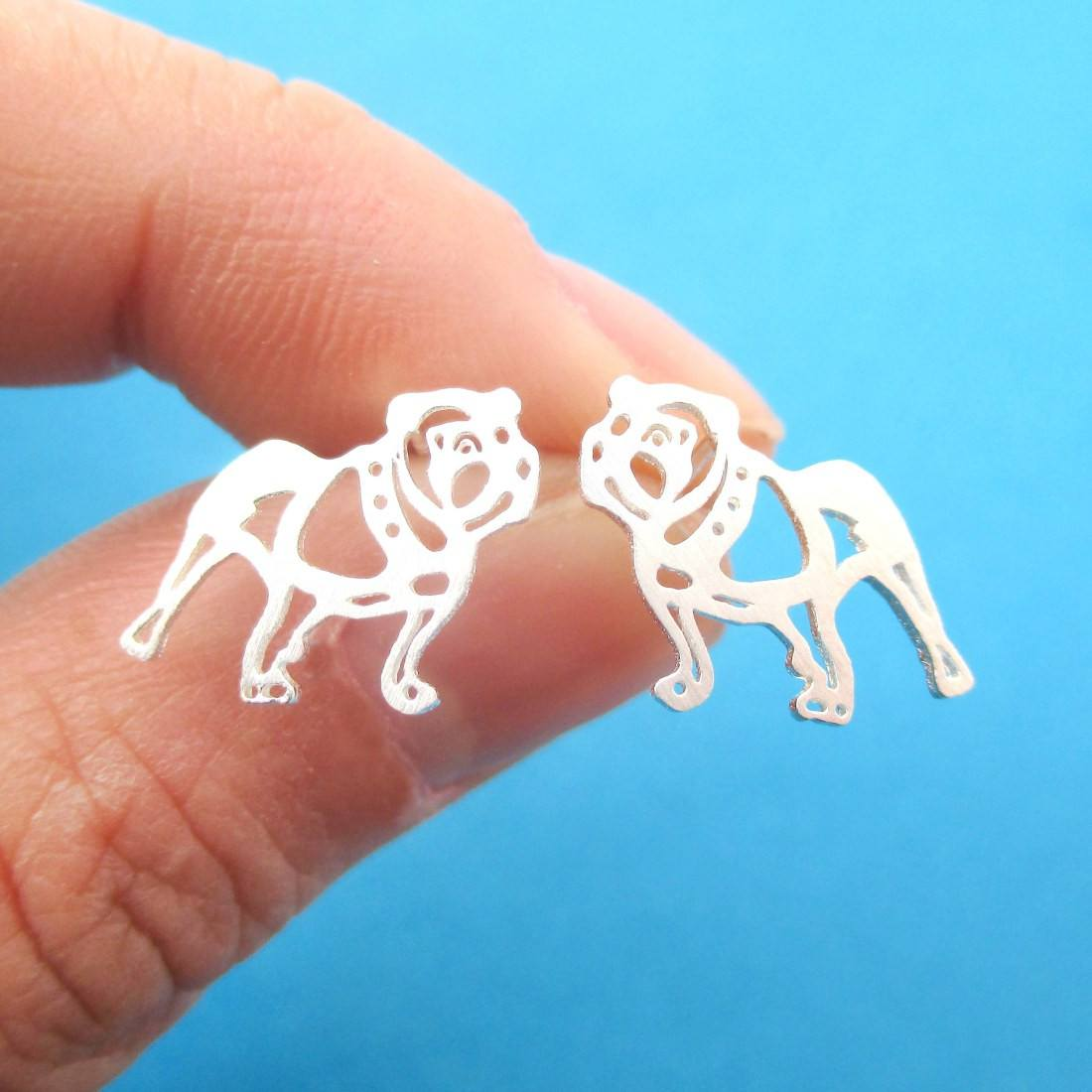 Unique Bulldog Dog Shaped Cut Out Stud Earrings in Silver