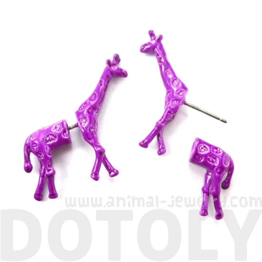 Realistic Giraffe Shaped Animal Fake Gauge Stud Earrings in Purple