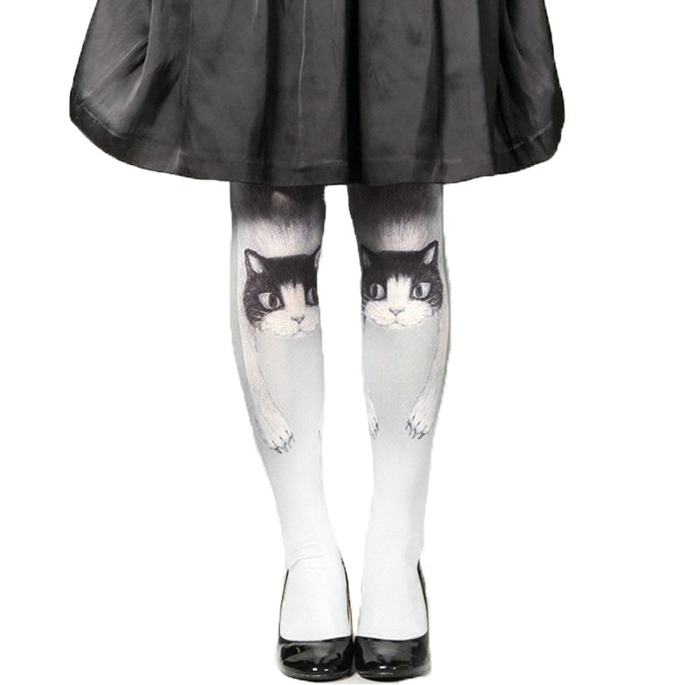 Unique Kitty Cat Graphic Print Stocking Pantyhose Tights for Women