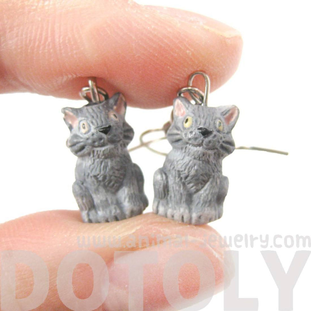 Unique Kitty Cat Shaped Porcelain Ceramic Animal Dangle Earrings | Handmade | DOTOLY
