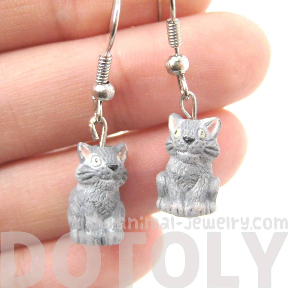Unique Kitty Cat Shaped Porcelain Ceramic Animal Dangle Earrings