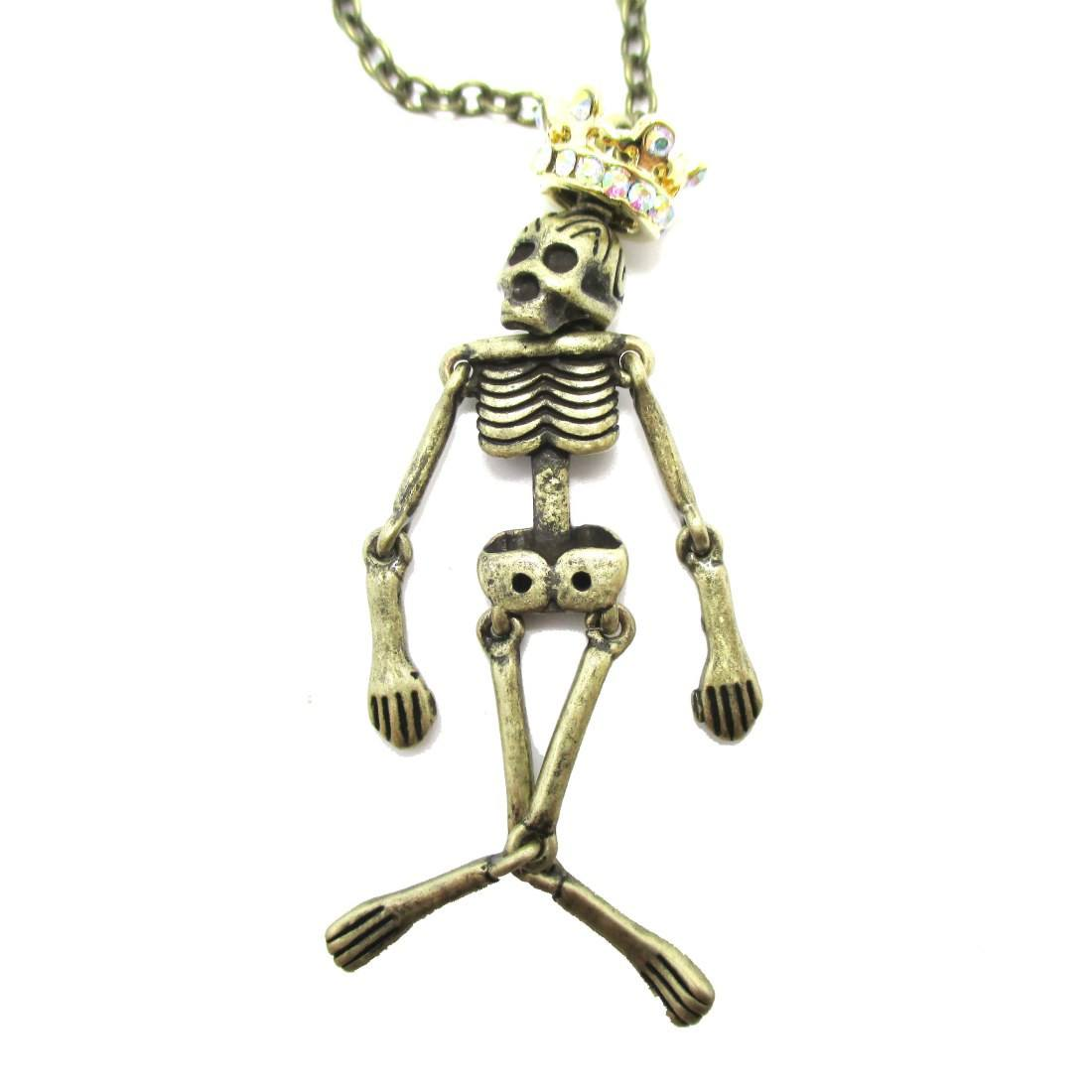 Brass Human Skeleton Bones Shaped Pendant Necklace