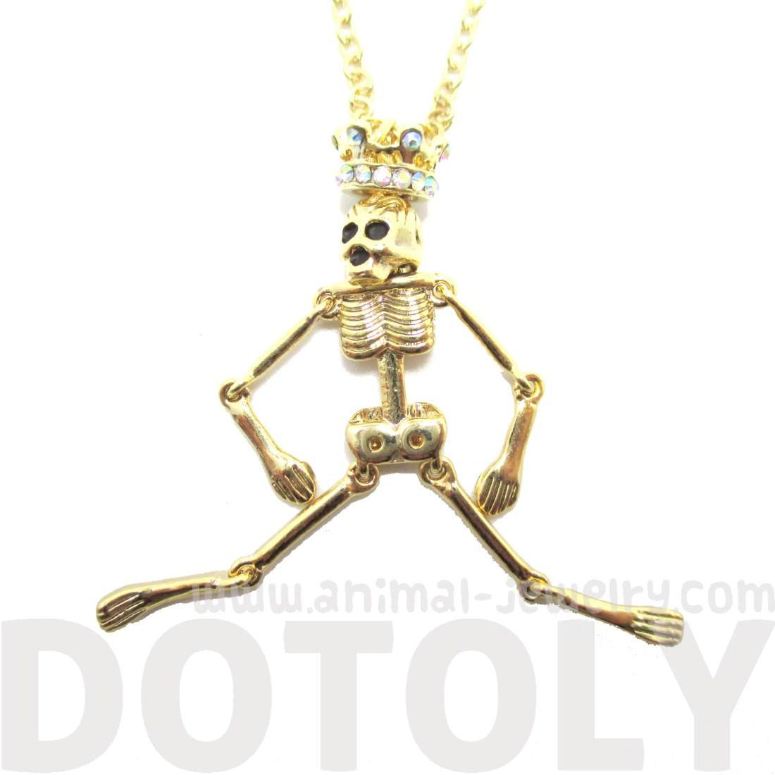 Human Skeleton Bones Shaped Pendant Necklace in Gold