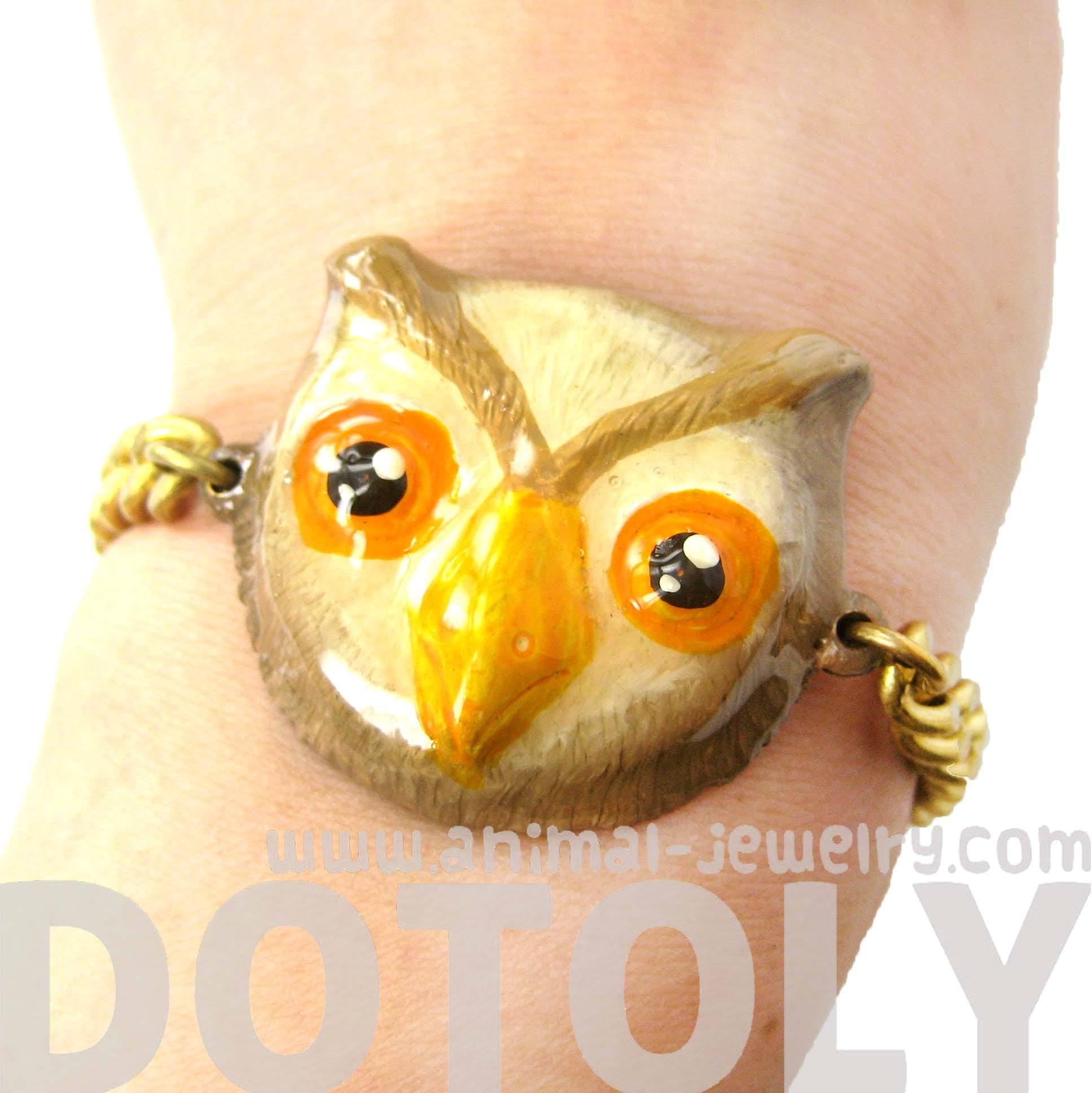 unique-owl-bird-shaped-animal-enamel-pendant-bracelet-limited-edition