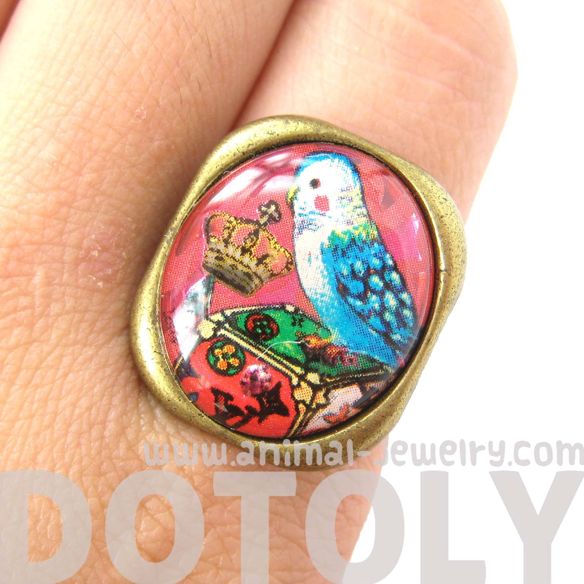 Unique Parakeet Bird Illustrated Resin Adjustable Ring | Animal Jewelry