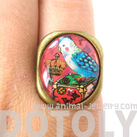 Unique Parakeet Bird Illustrated Resin Adjustable Ring | Animal Jewelry | DOTOLY