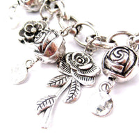 Unique Rose Floral Flower Charm Bracelet in Silver | DOTOLY