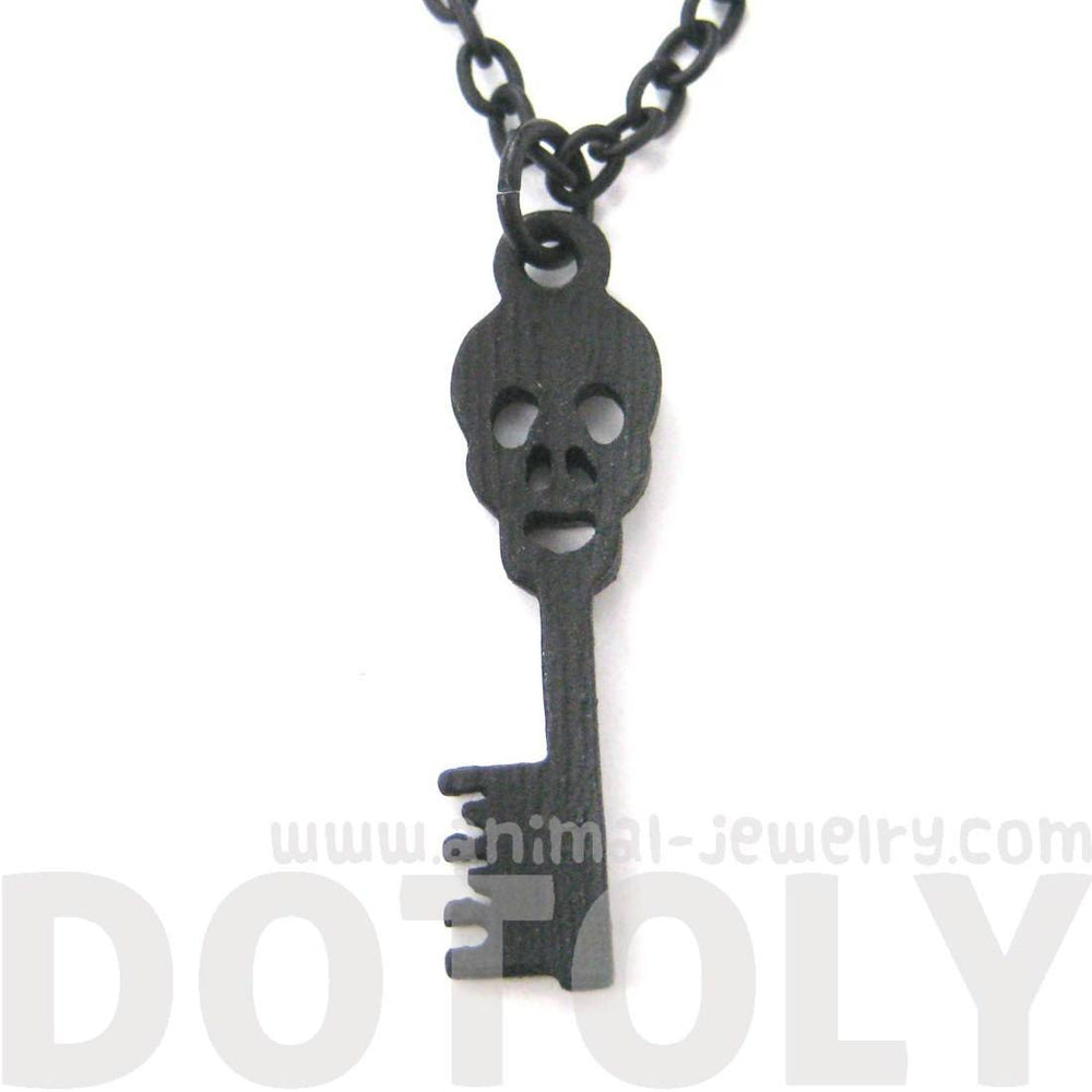 Unique Skeleton Skull Shaped Key Pendant Necklace in Black | DOTOLY