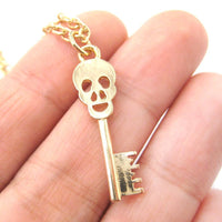Unique Skeleton Skull Shaped Key Pendant Necklace in Gold | DOTOLY