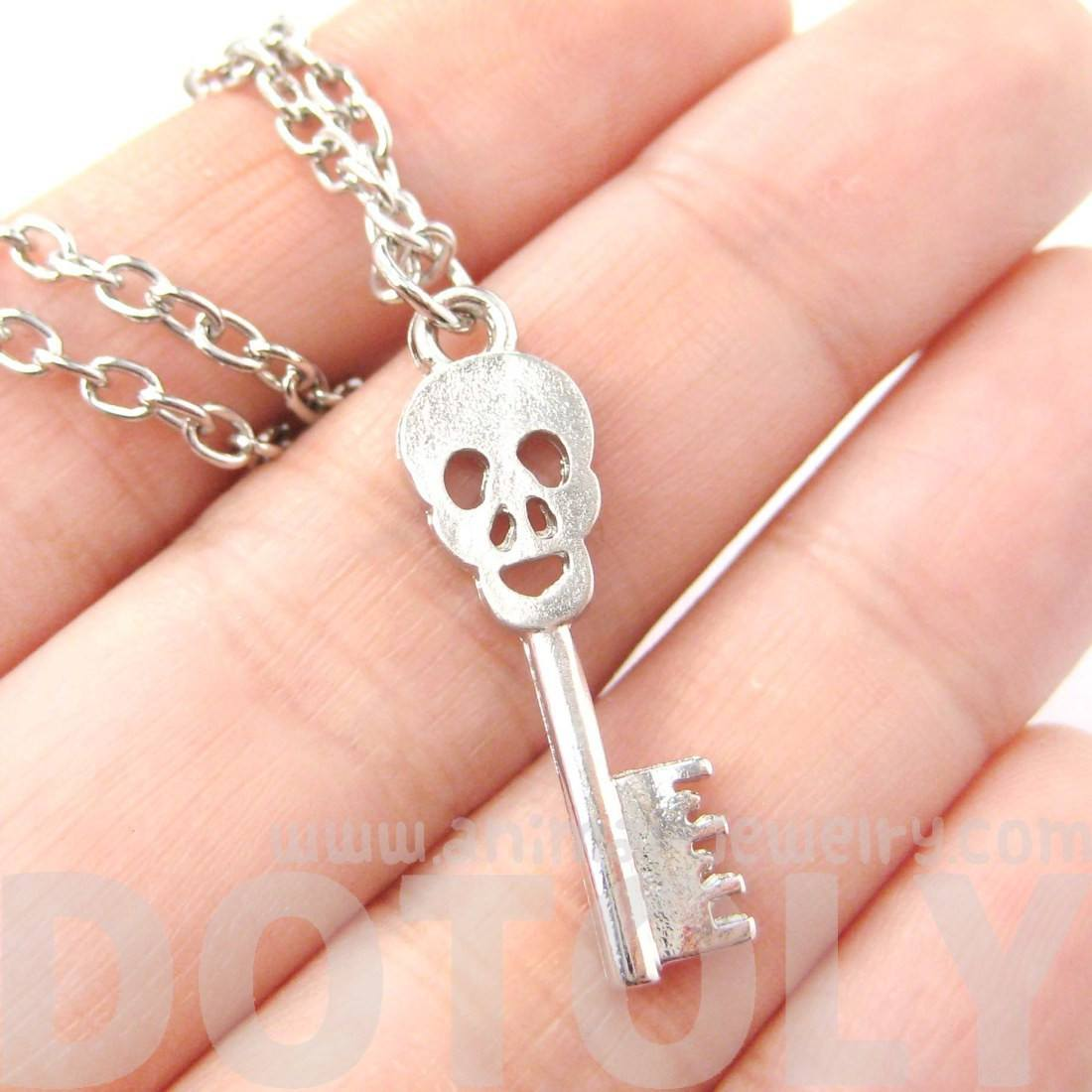 Unique Skeleton Skull Shaped Key Pendant Necklace in Silver | DOTOLY