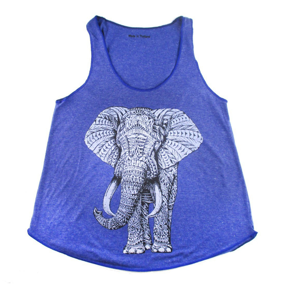 Unisex Abstract Elephant Graphic Print Racerback Tank Top Tee in Blue