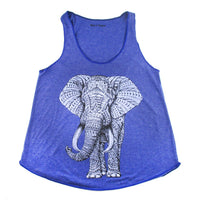 Unisex Abstract Elephant Graphic Print Racerback Tank Top Tee in Blue | DOTOLY