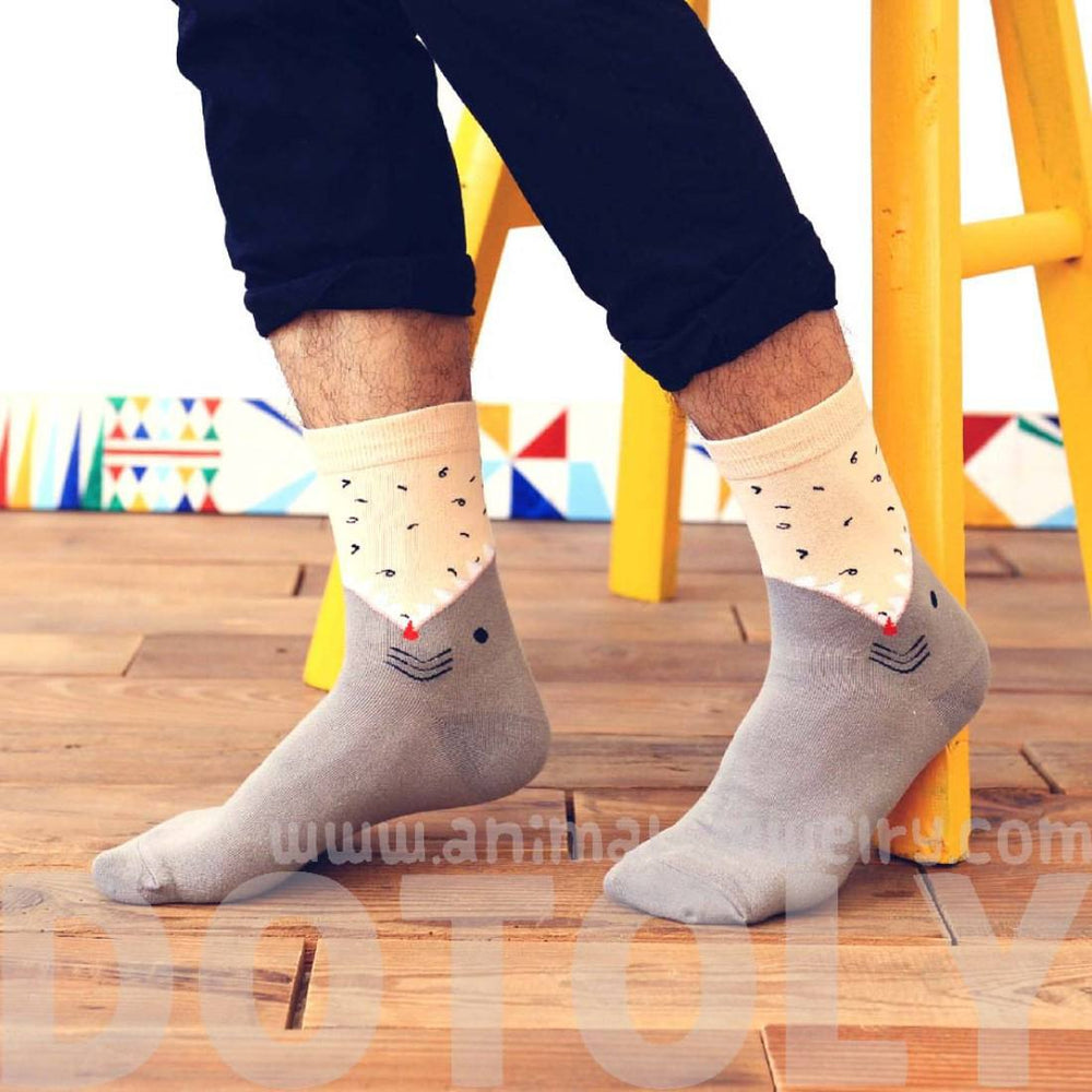Unisex Shark Biting Your Leg Print Socks Animal Themed Cotton Socks in Blue or Grey | DOTOLY