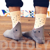 Unisex Shark Biting Your Leg Print Socks Animal Themed Cotton Socks