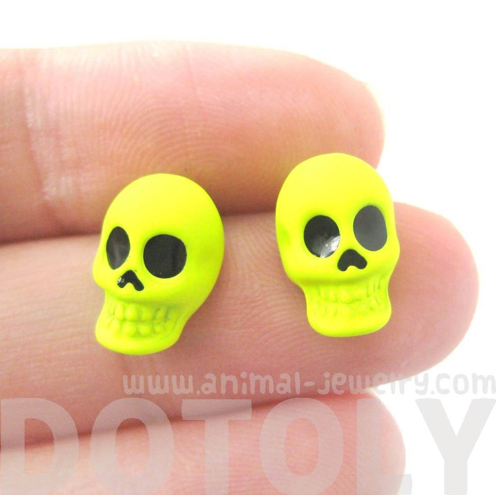 Unisex Skull Shaped Skeleton Themed Stud Earrings in Neon Yellow