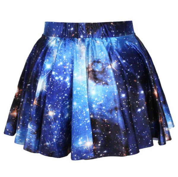 Universe Cosmic Galaxy Nebula Space Print Circle Skirt with Elastic Waist in Blue | DOTOLY | DOTOLY