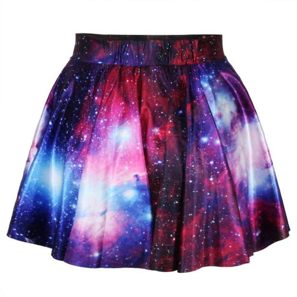 Universe Cosmic Galaxy Nebula Space Print Elastic Circle Skirt in Purple