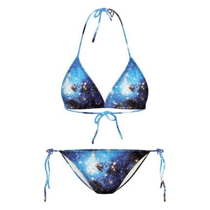 Universe Galaxy Nebula All Over Print Space Themed Triangle Bikini Set