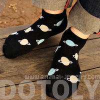 Universe Planets Saturn Shaped Graphic Print Cotton Short Ankle Socks for Women in Black | DOTOLY