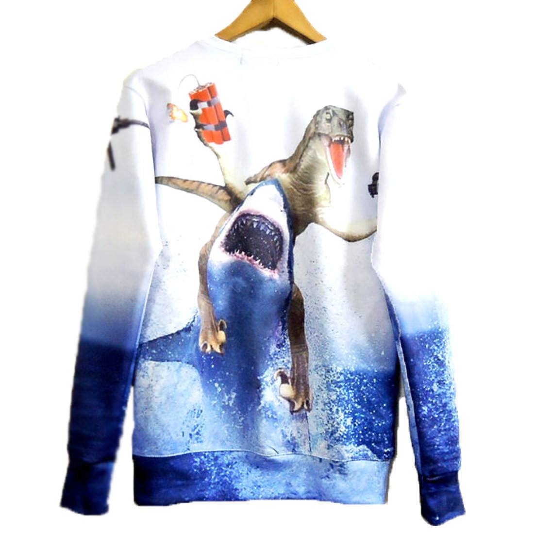 Velociraptor Riding A Shark Holding Dynamite and Gun Print Sweater