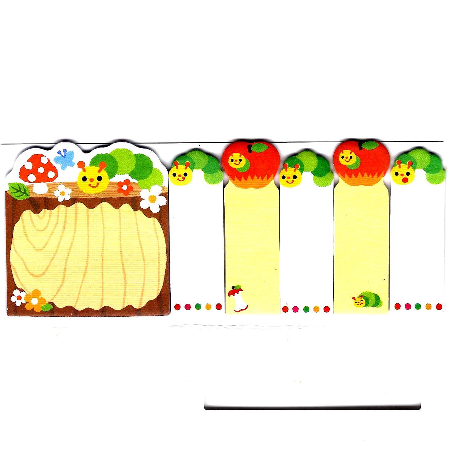 Very Hungry Caterpillar Illustrated Cute Memo Post-it Index Tab Sticky Bookmarks
