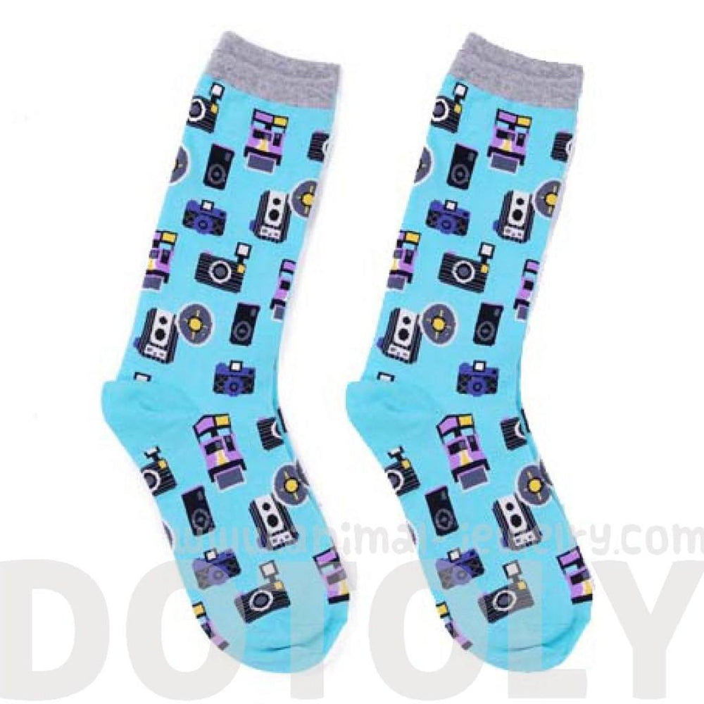 Vintage Camera Print Photography Themed Unisex Socks in Blue